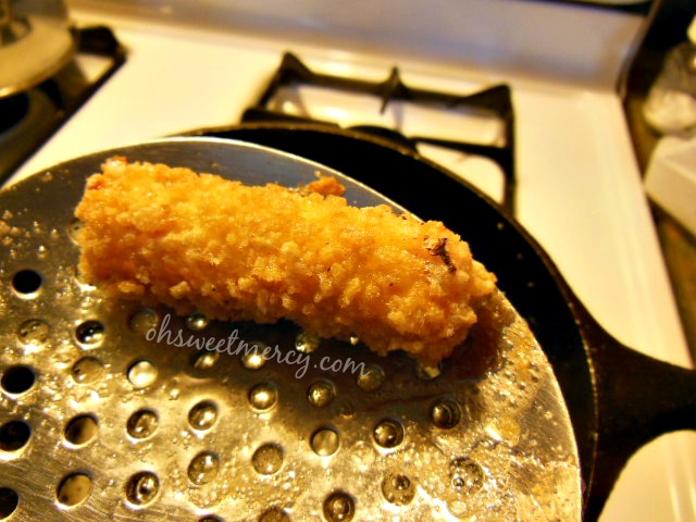 Homemade Mozzarella Cheese Sticks right out of the fryer