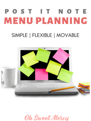 Menu Planning doesn't have to be complicated. Give this easy Post It Note Meal Plan method a try! #thm #menuplanning