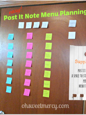 Easy Menu Planning with Post It Notes
