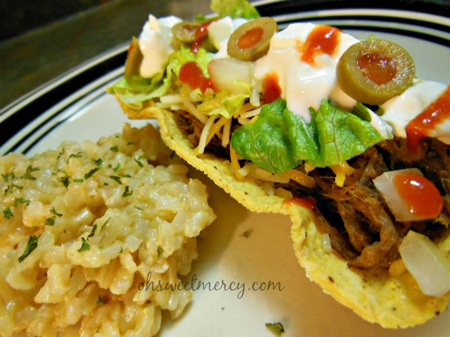 Shredded Beef Tacos and Rice