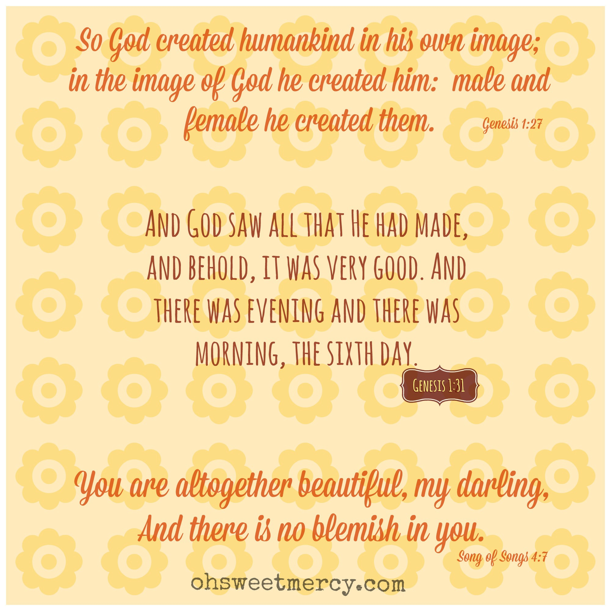 You were created beautifully