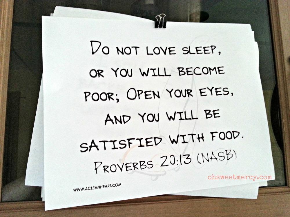 Clean Heart Journal Proverbs 20-13 Don't love sleep