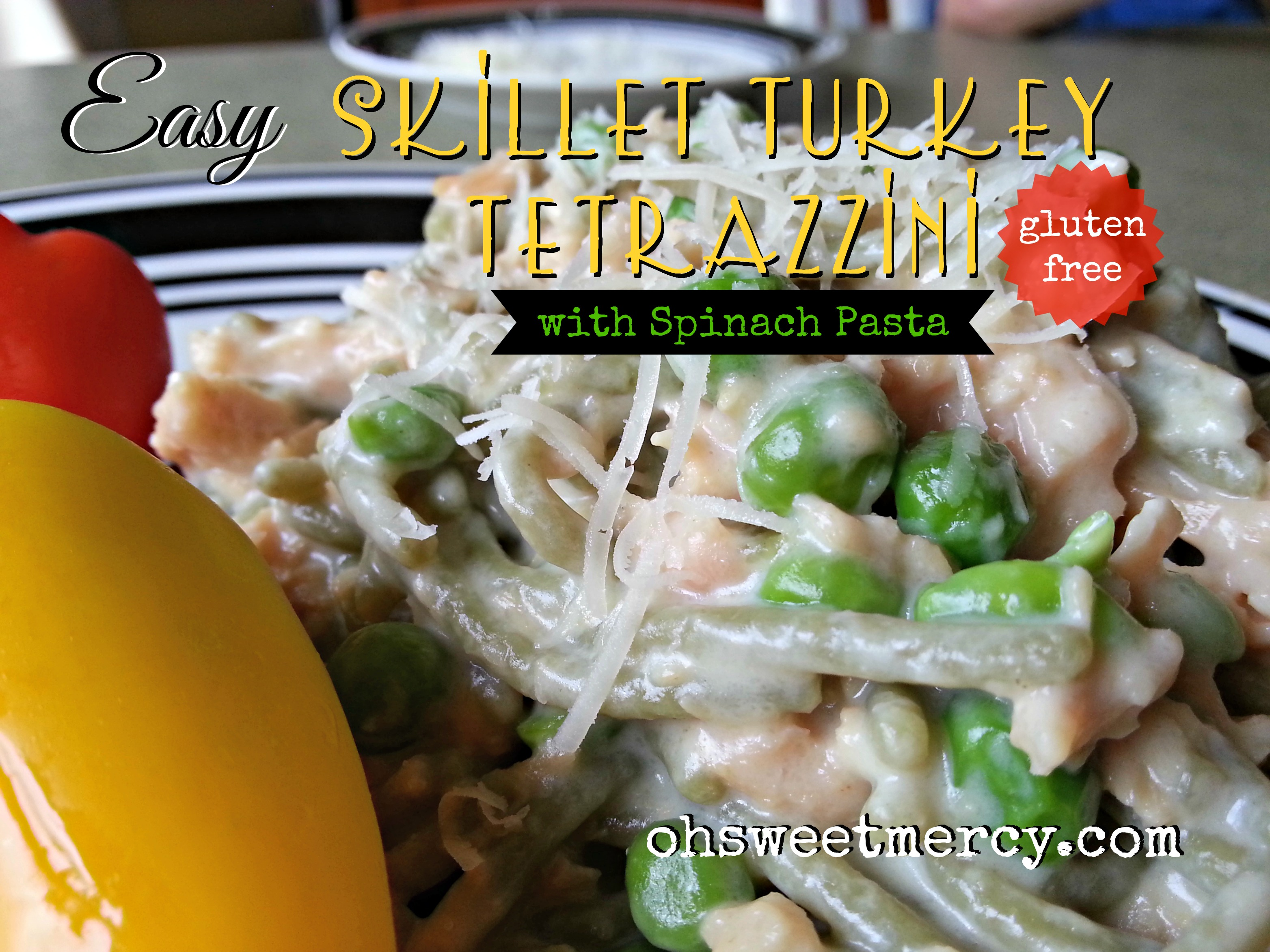 Easy Skillet Turkey Tetrazzini with Gluten Free Spinach Pasta