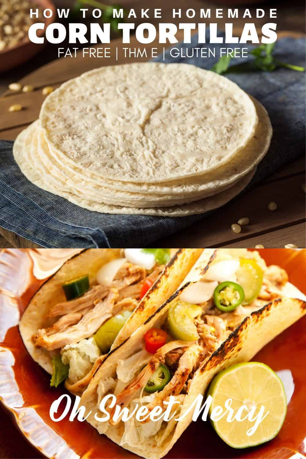 Make easy, 3-ingredient, homemade corn tortillas! Fat free, gluten free, and great for THM E meals. #thm #glutenfree #fatfree #homemade #tortillas