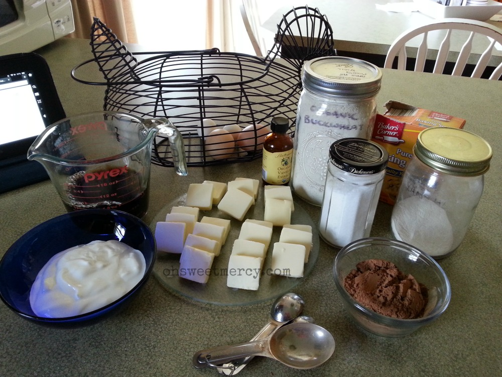 Ingredients for Gluten Free Buckwheat Sheet Cake