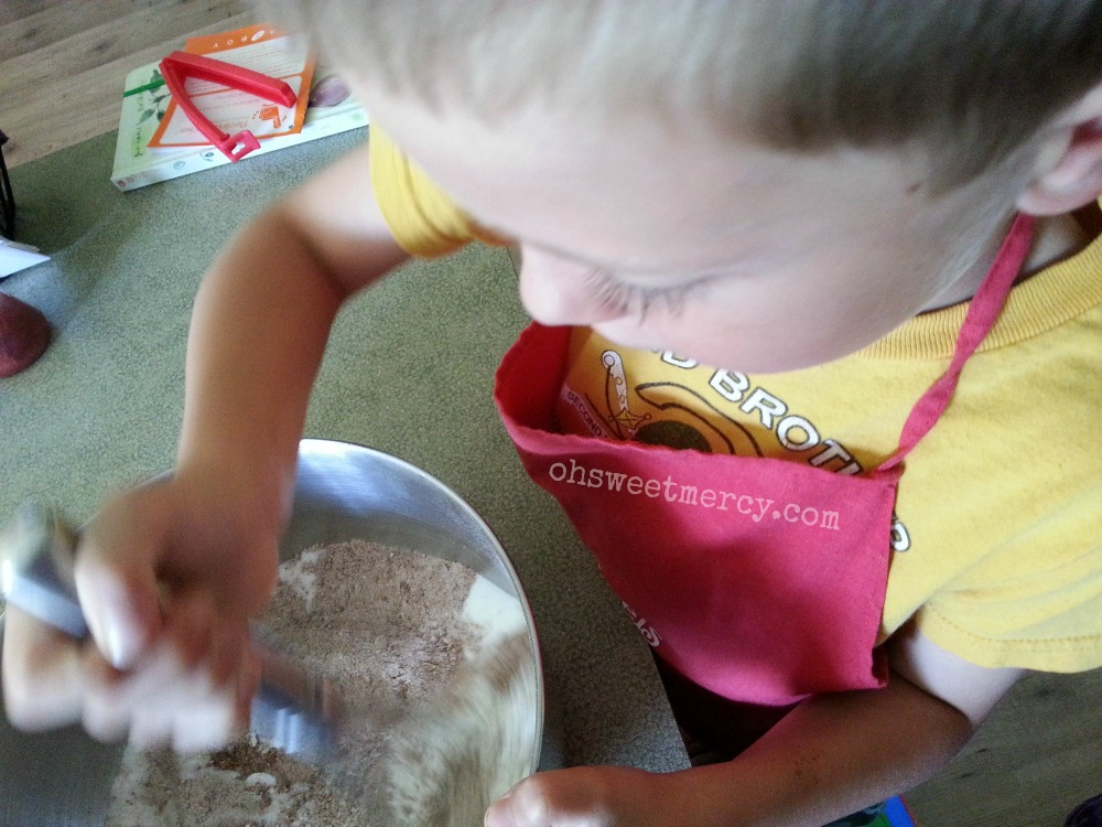 Kitchen Assistant Helping with Gluten Free Buckwheat Texas Sheet Cake