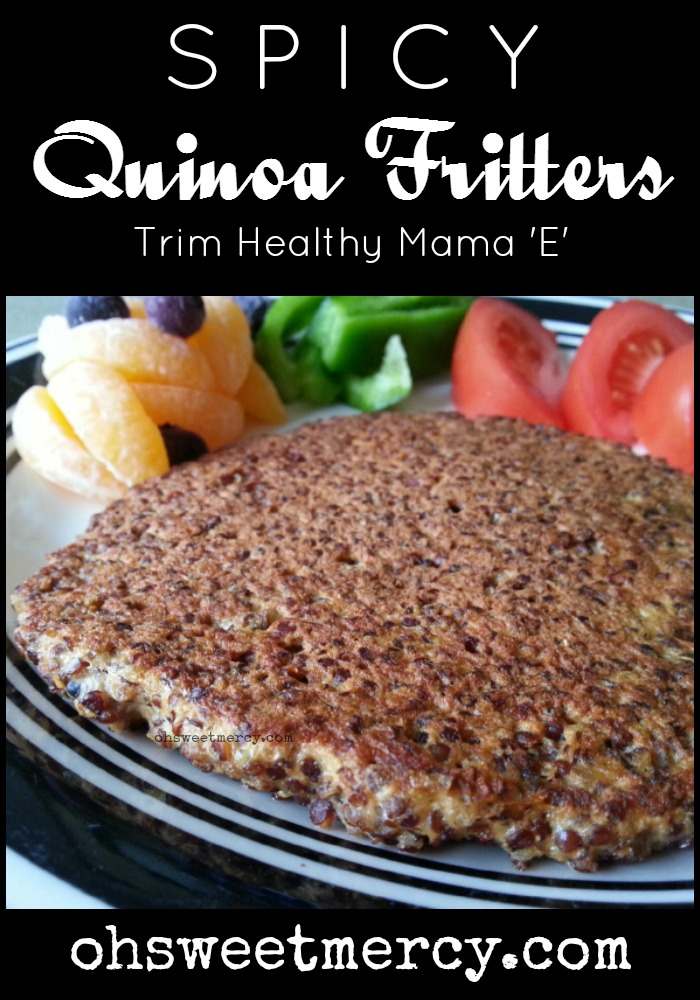 Make this easy, Trim Healthy Mama-Inspired recipe for Spicy Quinoa Fritters | Oh Sweet Mercy #recipes #quinoa #THM #ohsweetmercy