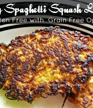 These Spicy Spaghetti Squash Latkes are good any time of year! Gluten free and Trim Healthy Mama friendly. #thm #spaghettisquash #recipes #lowcarb