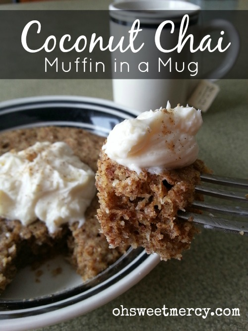 Coconut Chai Muffin in a Mug   Oh Sweet Mercy #recipes #THM #coconut #MIM #ohsweetmercy