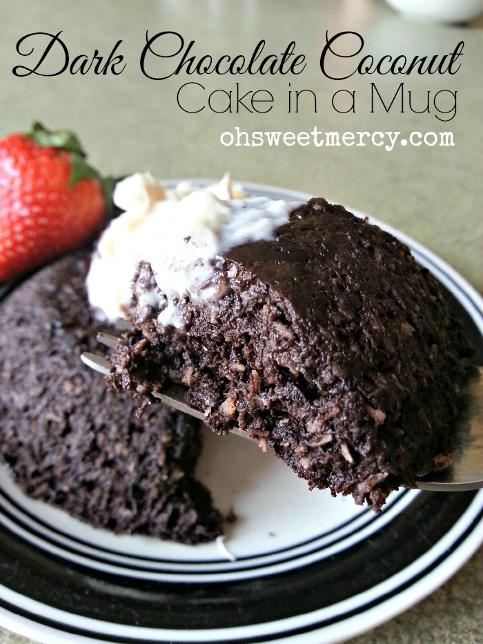 Dark Chocolate Coconut Cake in a Mug - Oh Sweet Mercy