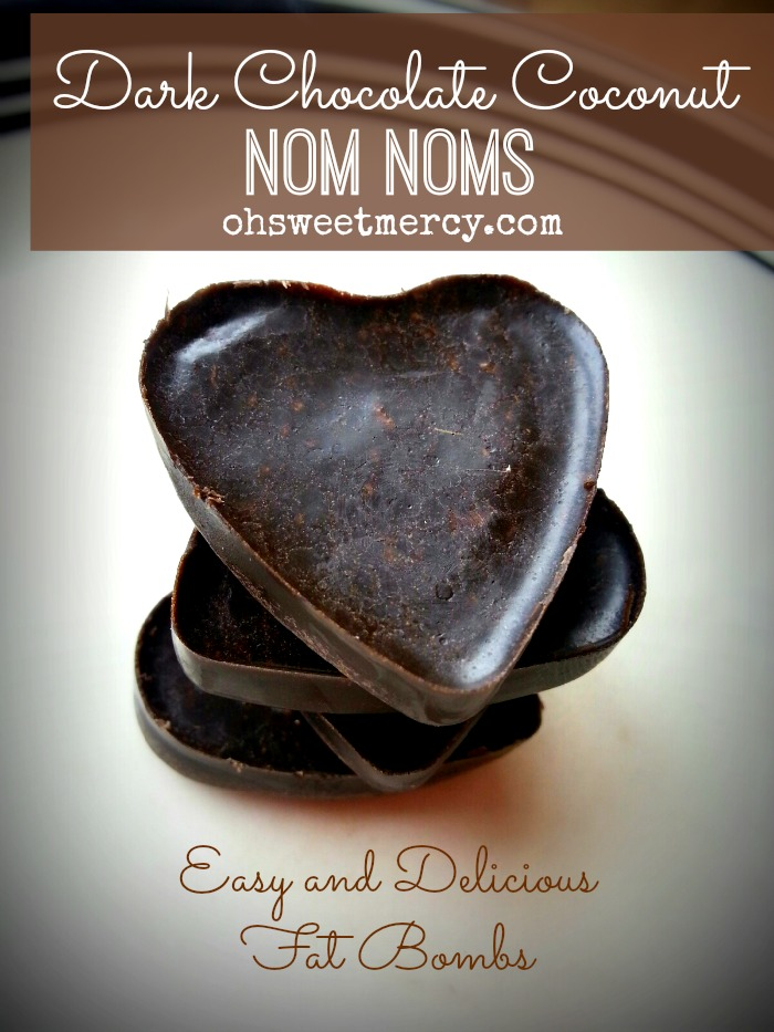 Dark Chocolate Coconut Nom Noms   Oh Sweet Mercy #recipes #fatbombs #THM #chocolate #coconut #ohsweetmercy