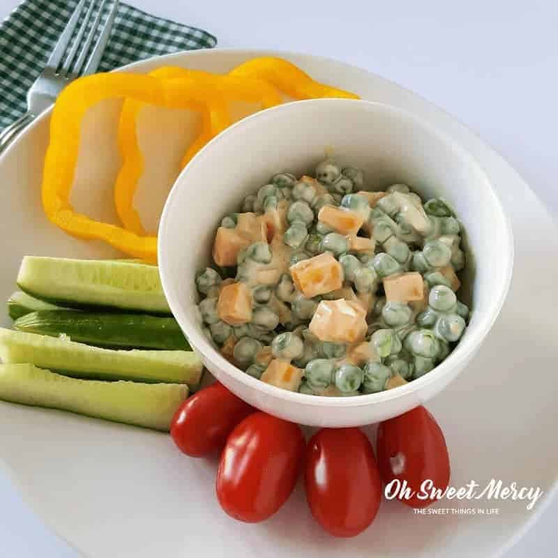 Easy Peasy Pea Salad is a great THM lunch or snack! Low carb and delicious. #thm #lunch #snacks