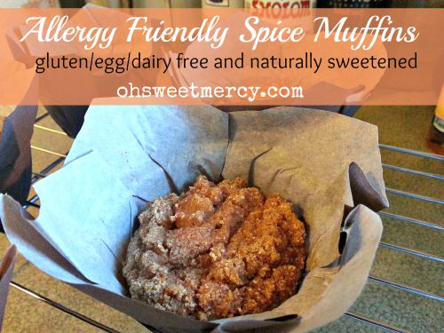 Allergy Friendly Spice Muffins PIN THIS TO YOUR FAVORITE BOARDS! | Oh Sweet Mercy #allergyfriendly #glutenfree #eggfree #dairyfree #recipes #ohsweetmercy