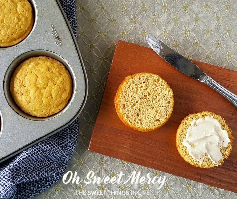 Make these THM friendly Garlic Mug Biscuits with or without THM Baking Blend (or homemade versions). Gluten free, low carb. Oh Sweet Mercy