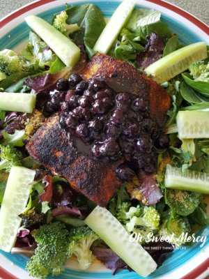 Salmon with Blueberry Sauce is a deeply nourishing dish that will make your brain happy! THM, low carb, keto friendly and all real food goodness. #lowcarb #thm #healthyfats #salmon