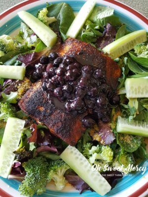 Salmon with Blueberry Sauce is a deeply nourishing dish that will make your brain happy! THM, low carb, keto friendly and all real food goodness.
