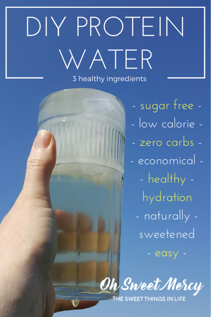 Make this easy, sugar free, carb free DIY Protein Water with just 3 healthy ingredients! Oh Sweet Mercy