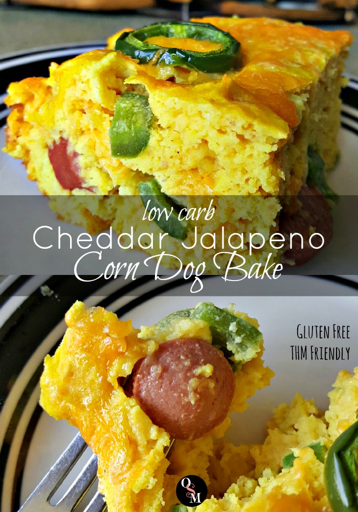Great corn dog flavor without the carbs in this Low Carb Cheddar Jalapeno Corn Dog Bake. #thm #lowcarb #recipes
