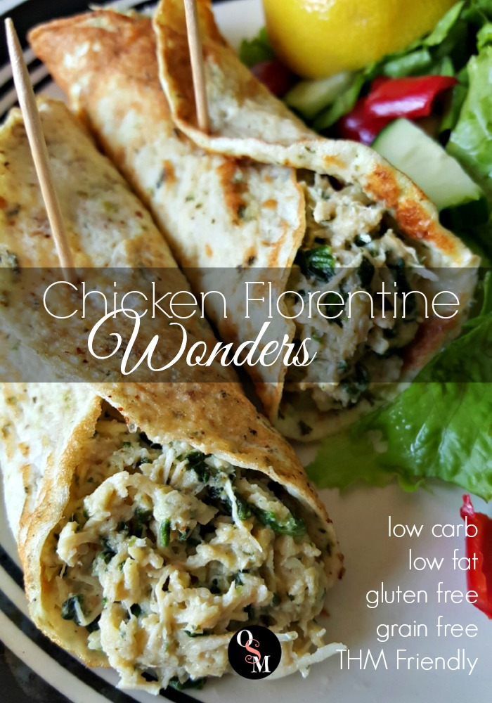 #lowfat #lowcarb but not low flavor! Easy Chicken Florentine Wonders are delicious and #trimhealthymama friendly. #chicken #recipes