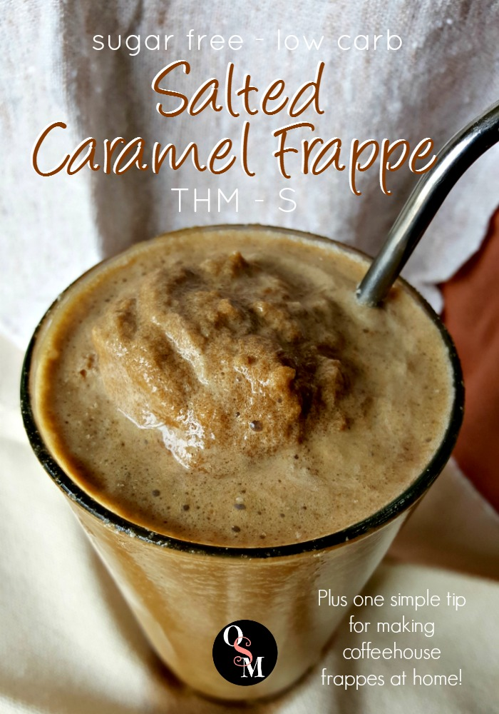 How to Make a Salted Caramel Frappe Like a Coffeehouse Boss! One simple secret to perfect frappes you need to know! #sugarfree #thm #diy #savingmoney #coffeehouse #recipes