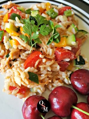 Easy Southwestern Chicken and Brown Rice Salad | Oh Sweet Mercy #thm #lowfat #easy #recipes #salads #ohsweetmercy