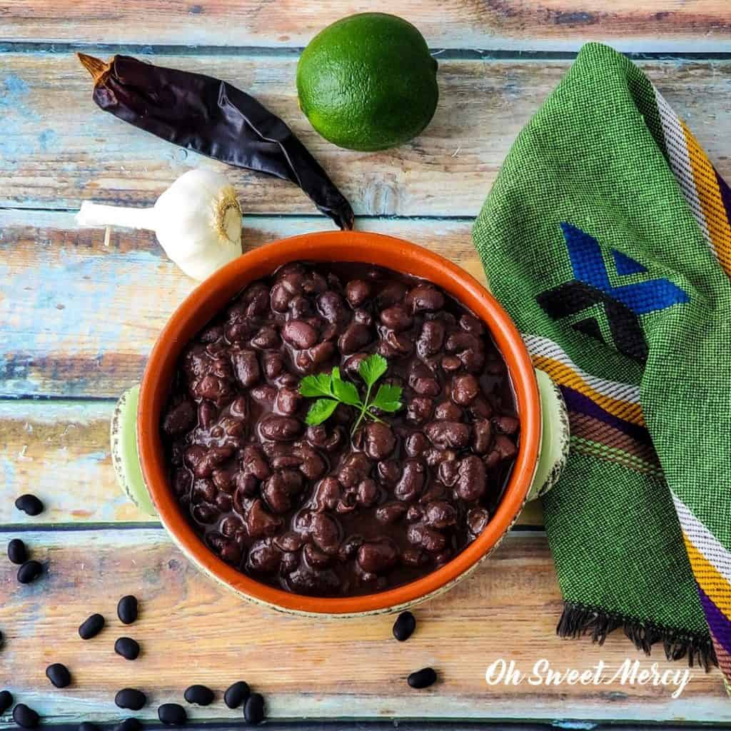 Bowl of chili lime black beans