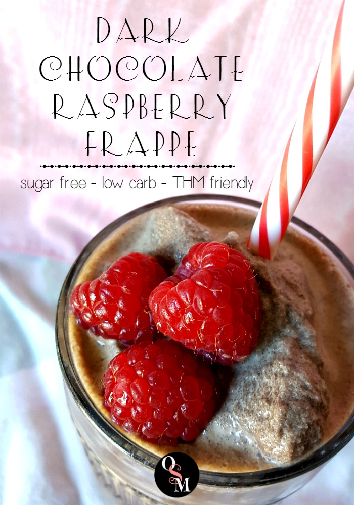 This decadent Dark Chocolate Raspberry Mocha Frappe is sugar free and won't break your budget! #thm #sugarfree #diy #savingmoney #recipes