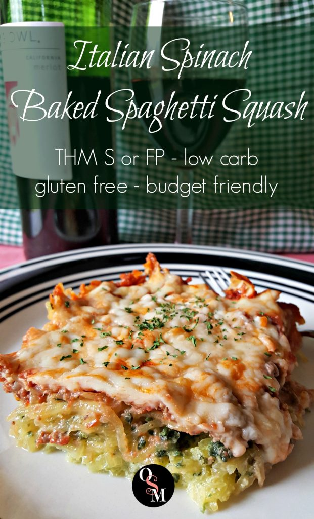 Italian Spinach Baked Spaghetti Squash | Oh Sweet Mercy #lowcarb #thm #spaghettisquash #glutenfree