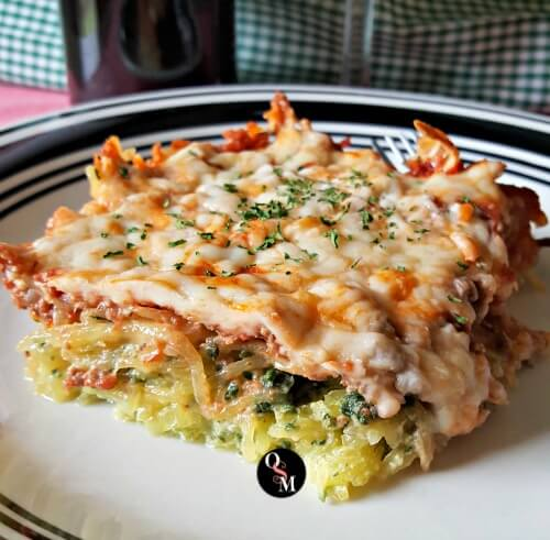 Italian Spinach Baked Spaghetti Squash - Oh Sweet Mercy