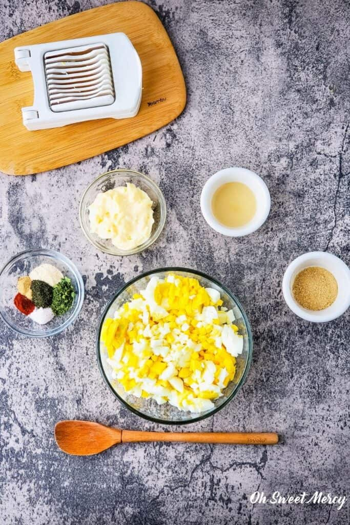 Ingredients for egg salad ready to mix