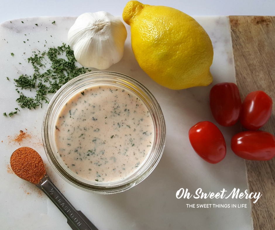 This Creamy Cajun Ranch Dressing can be made low or no fat and has the benefit of probiotics- Oh Sweet Mercy