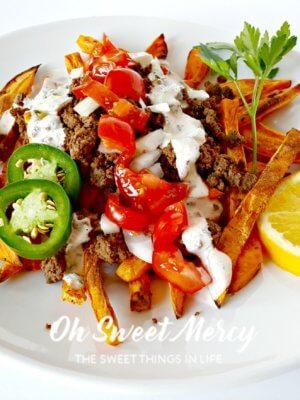 Loaded Sweet Potato Fries - Oh Sweet Mercy