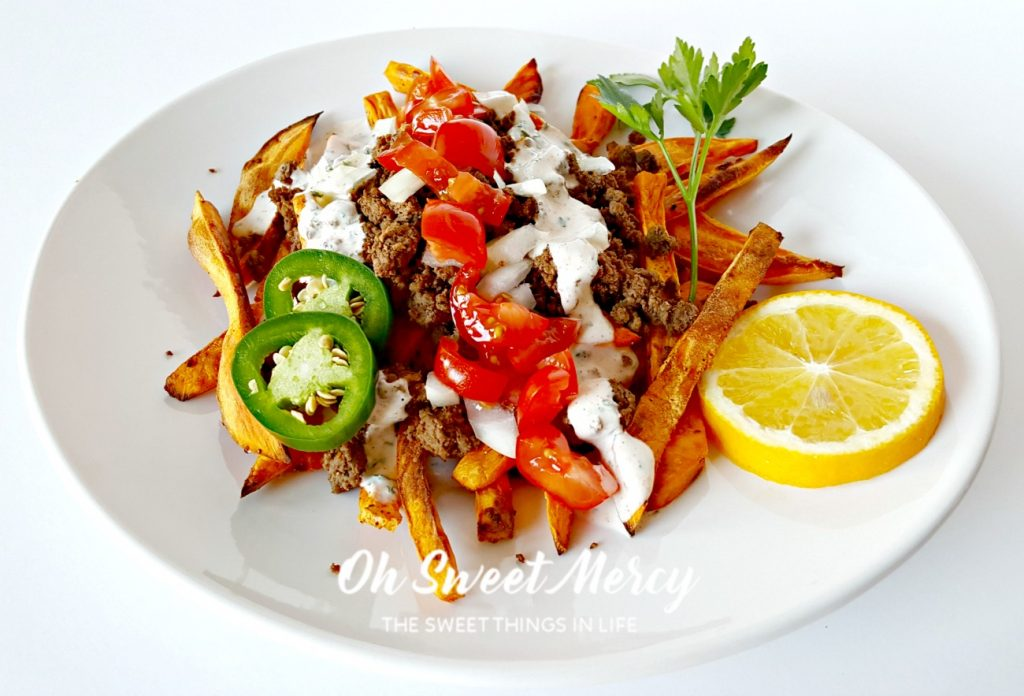 These low fat Loaded Sweet Potato Fries with Creamy Cajun Ranch won't load your blood sugar. You won't even miss the fat! THM friendly, gluten free, real food ingredients. Oh Sweet Mercy