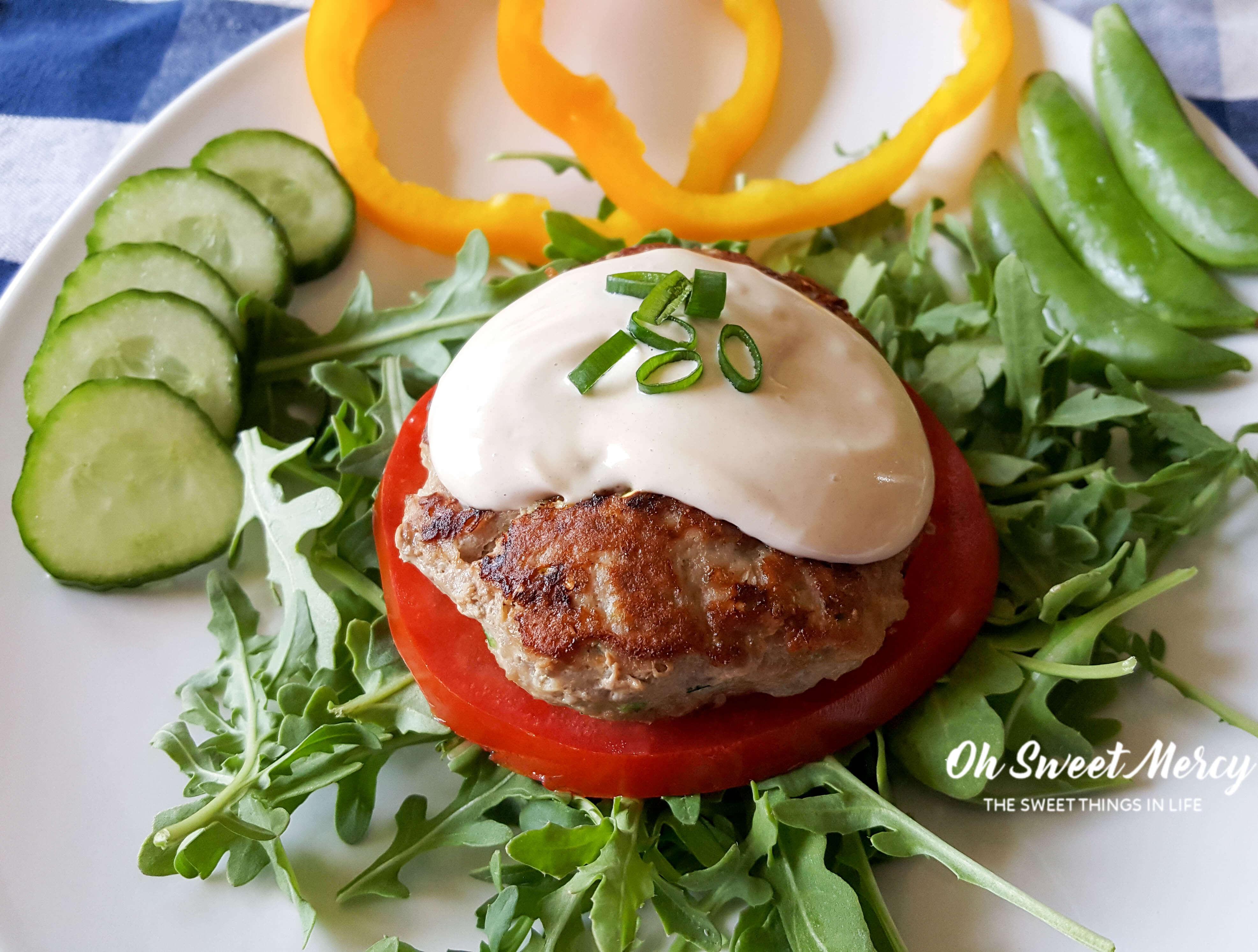 Garlic Zucchini Turkey Burgers with Creamy Dijon Sauce - Oh Sweet Mercy