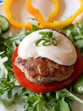 Garlic Zucchini Turkey Burgers with Creamy Dijon Sauce