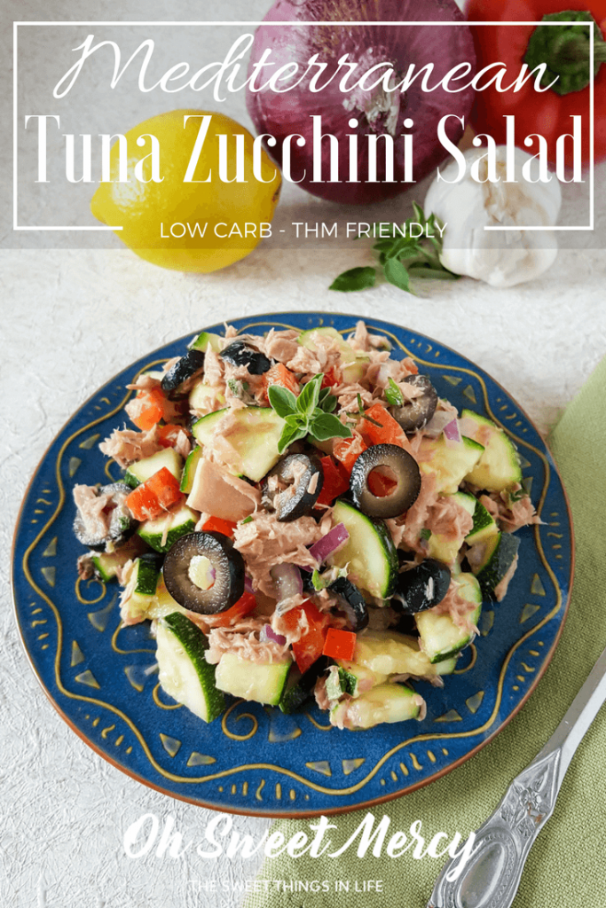 This Mediterranean Tuna Zucchini Salad is light, refreshing, and healthy. Perfect for THM, low carb, diabetic, and real food diets. Low carb, sugar free. Oh Sweet Mercy