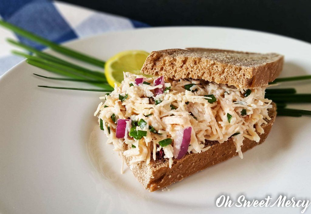 This Easy 4 Ingredient Lemon and Chive Chicken Salad is perfect for THM E, S, and FP! Egg free too! Oh Sweet Mercy