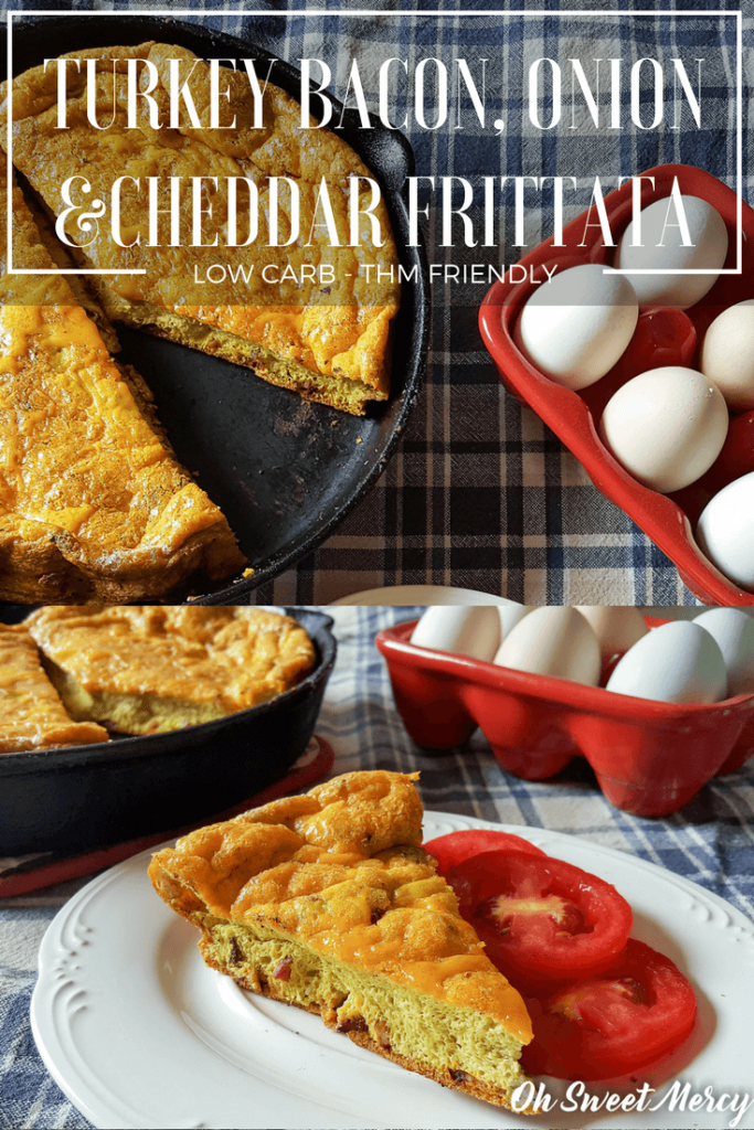 This easy Turkey Bacon, Onion, and Cheddar Frittata is high in protein, low in carbs, and simple to make. Great any time of day! Oh Sweet Mercy