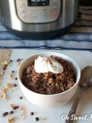 Chocolate Java Instant Pot Oatmeal will help fuel your tank in the morning with nourishing, low fat, healthy carbs! Trim Healthy Mama E friendly recipe.