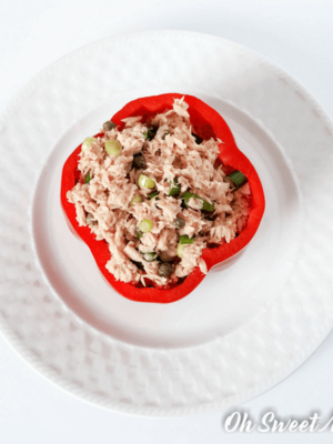 Low Fat Tuna Stuffed Pepper for One makes a perfect protein-packed meal! Make it to suit THM S, E, and FP style meals. #lowfat #highprotein #glutenfree #thm #recipes #ohsweetmercy