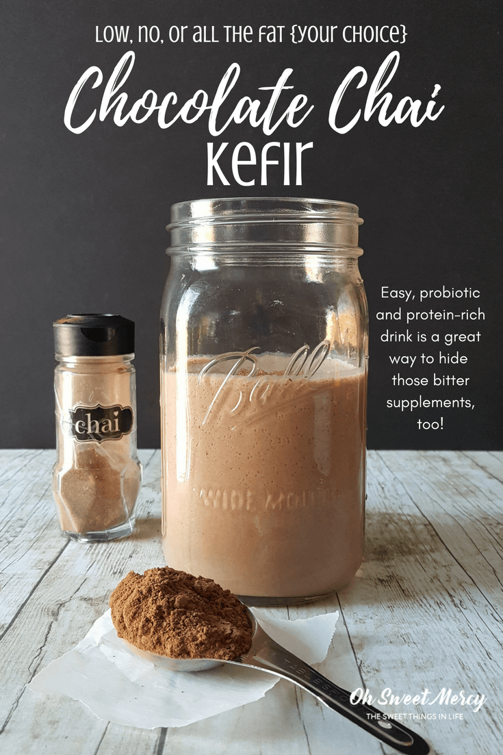 This easy Chocolate Chai Kefir is rich in probiotics and protein, sugar free, and low, no, or all the fat (your choice). Perfect for hiding bitter supplements, too! #kefir #chocolate #chai #recipes #thm