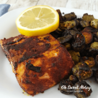 Fried Okra and Blackened Salmon | Keto, THM Deep S