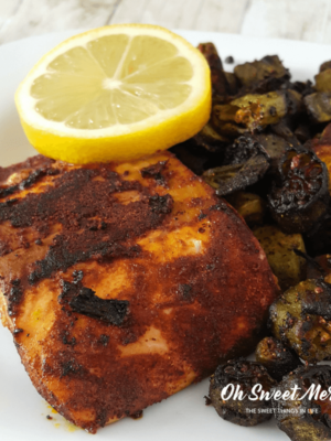 Nourish your body with this Fried Okra & Blackened Salmon! Low carb, keto, paleo, THM Deep S friendly, gluten free too.
