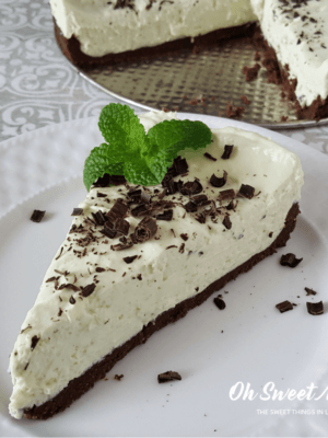 This Low Carb Minty Matcha No Bake Cheesecake uses antioxidant rich matcha tea for natural coloring.