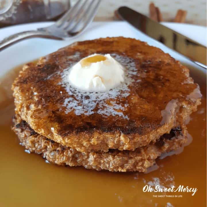 These nourishing Sweet Potato & Quinoa Pancakes are made with soaked quinoa. Low fat and healthy carbs are perfect for the Trim Healthy Mama. Gluten free too!