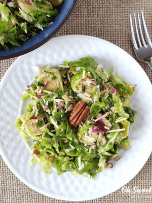 Balsamic Brussels Sprouts Salad {Low Carb, Keto, THM S}