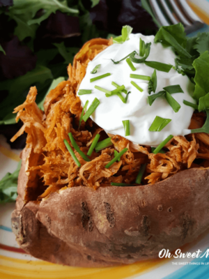 These low fat Chicken Taco Stuffed Sweet Potatoes make a perfect healthy carb option for the Trim Healthy Mama (or anyone). Simple, real food and no funky ingredients!