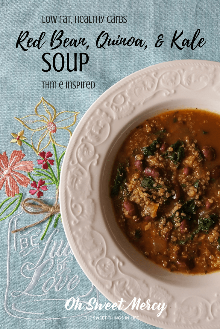 This Red Bean, Quinoa, & Kale Soup is a delicious low fat, healthy carb meal inspired by THM E guidelines! Quick, easy, and thrifty too!