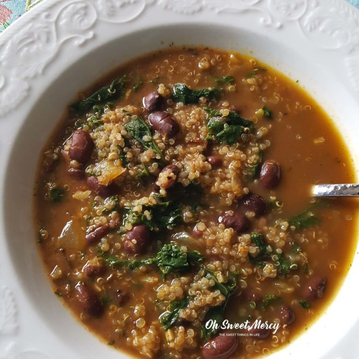 Red Bean, Quinoa, and Kale Soup - Low Fat, Healthy Carbs