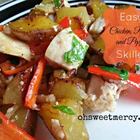 Easy Chicken, Potato and Pepper Skillet (NOT THM)